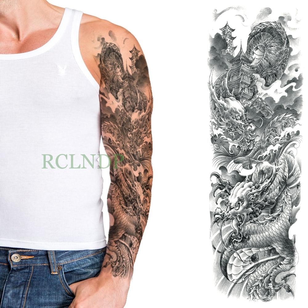Temporary Tattoo Sticker Large Size Body Art Sketch Flower: Waterproof Temporary Tattoo Sticker Dragon Chinese Style