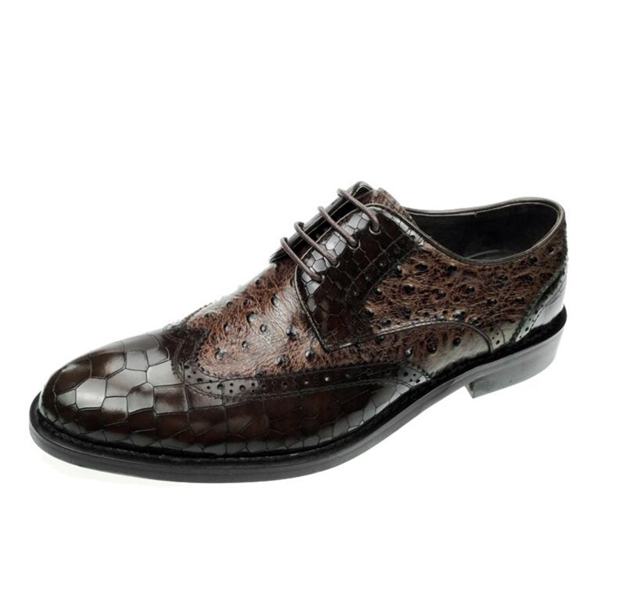 Luxury Vintage Carved Handmade Men Genuine Leather Crocodile pattern Goodyear Dress wedding banquet Business Wedge Ankle Shoes