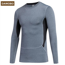 DAWOBO brand PRO Plus velvet sports Fitness t-shirt compression tights clothes long-sleeved Breathable Superelastic Joggers tees