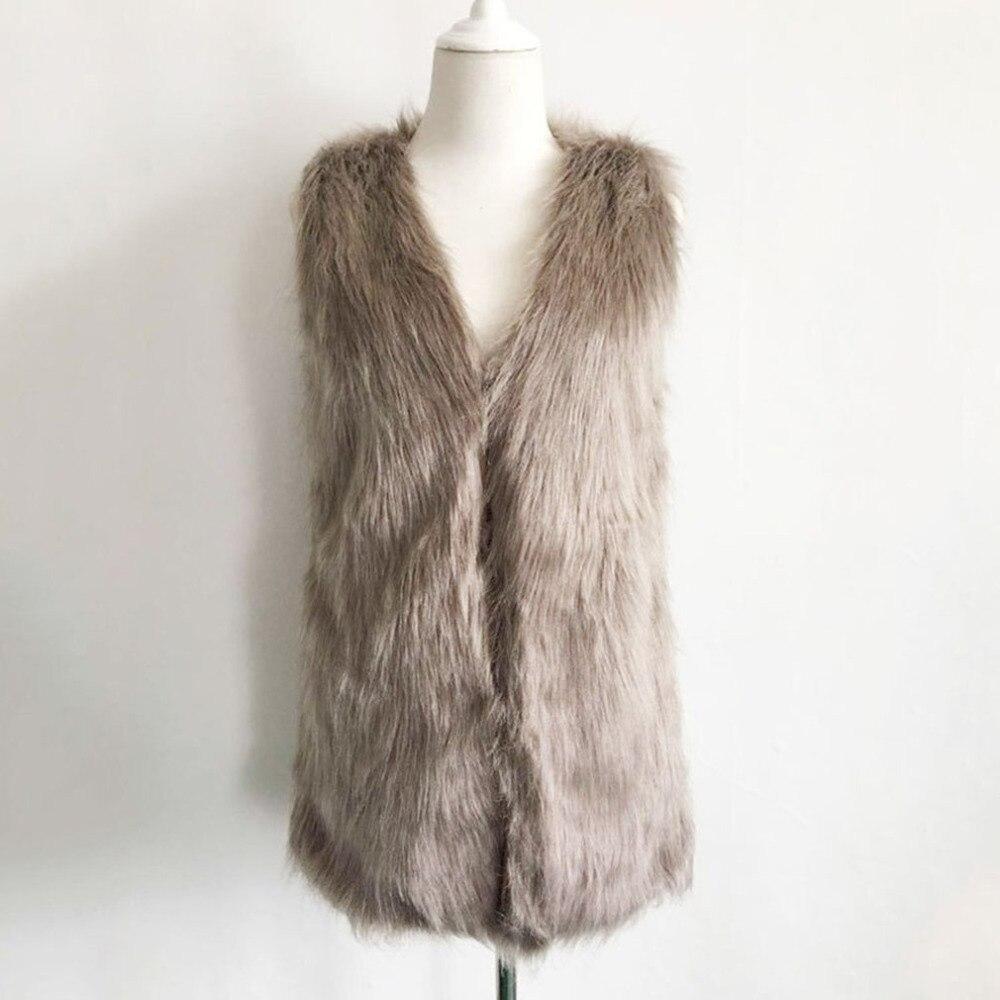 Women Brown Plus Size Faux Fur Vest Slim Long Tank Tops Women XXXL Gilet Fourrure Rabbit Fur 2017 New Femme Vest Long Waistcoat