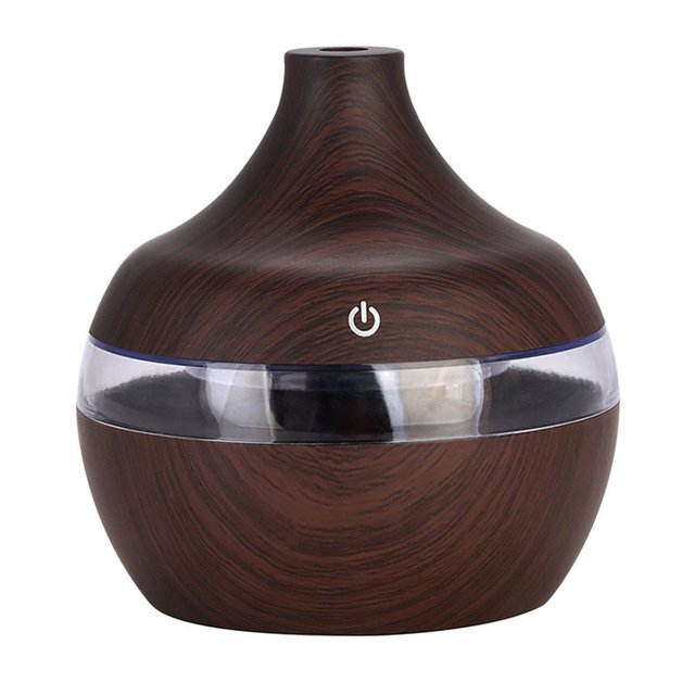 Creative Wood Grain Air Humidifier Essential Oil Diffuser with Colorful LED Light Air Purifier for Home Office Aromatherapy
