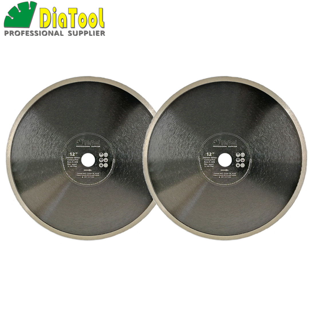 DIATOOL 2pcs Dia 12inch/14inch Hot-Pressed Continue Rim Diamond Blade Cutting Disc Porcelain Tile Ceramic Marble Saw Blade Wheel diatool 2pcs 4 5 115mm hot pressed continue rim cutting diamond blade ceramic tile sawblade thin cutting disc diamond wheel