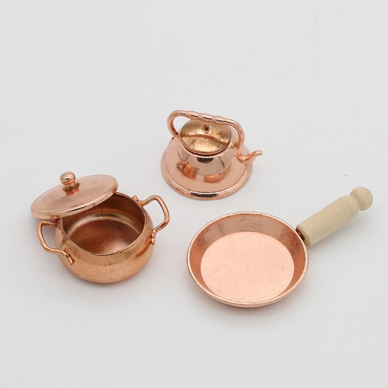 3pcs/Set Dollhouse Miniature Bronze Frying Pan Cooking Pot Kettle Cookware Kitchen Cooking Kit Dolls Accessories 1:12 Scale