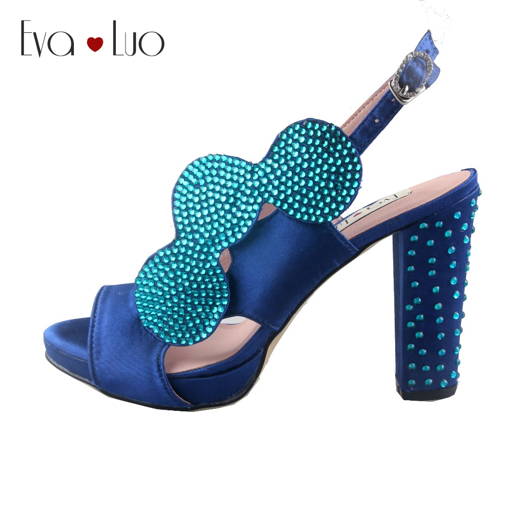 CHS926 Custom Made Royal Blue Turquoise Crystal African Bridal Wedding Shoes Slingbacks Women Block Heels Dress