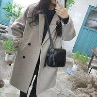 2018 Women Long Jacket Coat Female Winter New Loose Overcoat Gray/Black/Wine Red S/M/L/XL/XXL