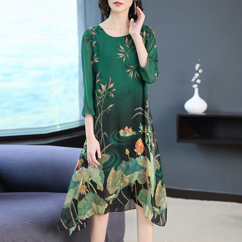 Chiffon dress female 2019 summer new style fashion gas loose printed dress large size M 3XL high quality elegant party vestidos in Dresses from Women 39 s Clothing