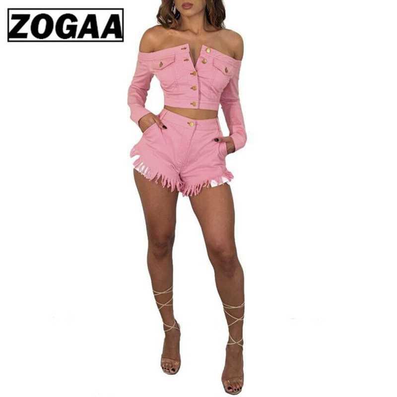 ZOGAA кисточкой джинсовая с открытыми плечами Женский комплект 2 шт. Slash шеи с длинным рукавом укороченный топ + Bodycon короткая Сексуальная кнопка карман костюм из двух предметов