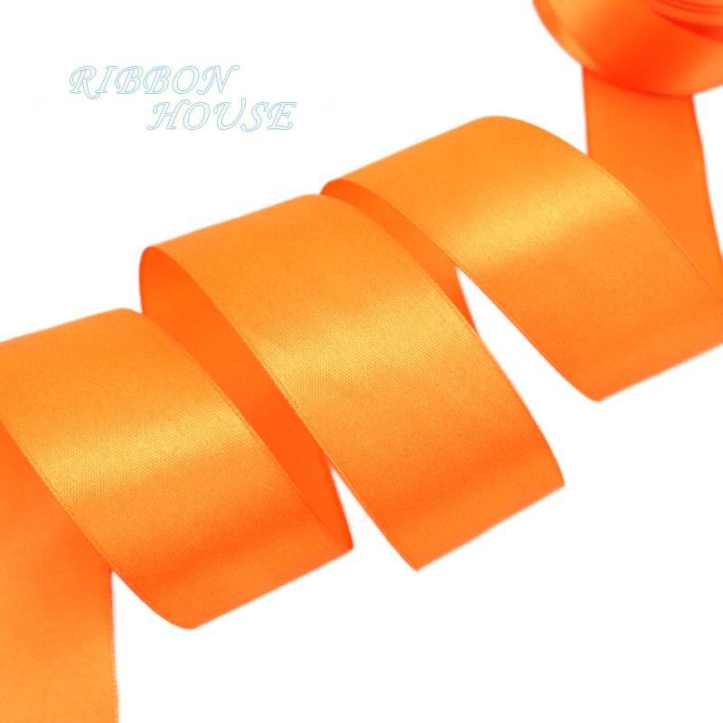 (25 ярдов/рулон) 40 мм оранжевый красный Свадебные украшения лента одного Уход за кожей лица атласная лента Подарочная Рождество Ленты