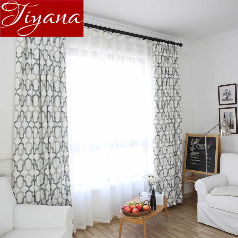 Geometric Curtains for Living Room Gray Curtain for Window Bedroom White Tulle Sheer Fabrics Kitchen Treatment Drapes X377 #30