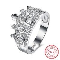 100% 925 Sterling Zilveren Kroon Engagement Ring met Clear CZ Authentieke Sterling Zilveren Bruiloft Sieraden