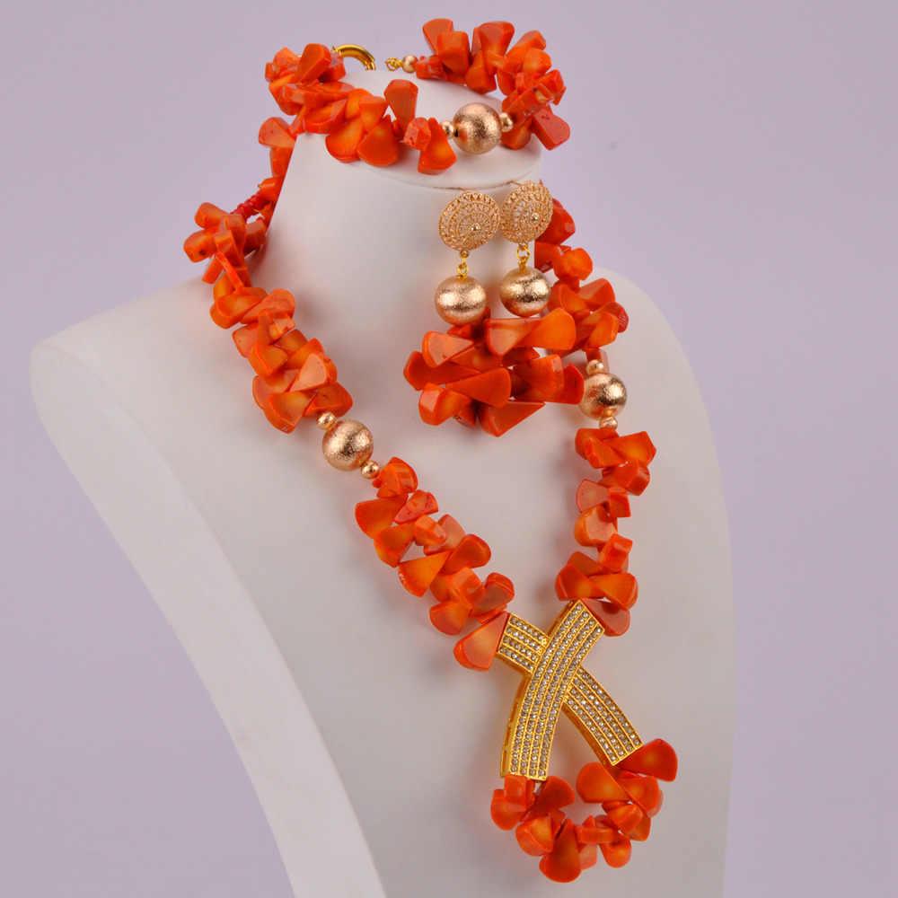 Mode Orange Korallen Schmuck Set Afrikanischen Hochzeit Perlen Korallen Halskette Sets Braut Schmuck Sets RCBS33