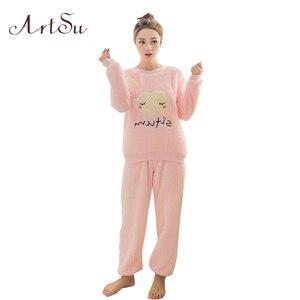 Image 2 - ArtSu новая зимняя утепленная Пижама с милой совой коралловой флисовой подкладкой, домашний костюм, коралловый бархат Главная Одежда для отдыха 9123