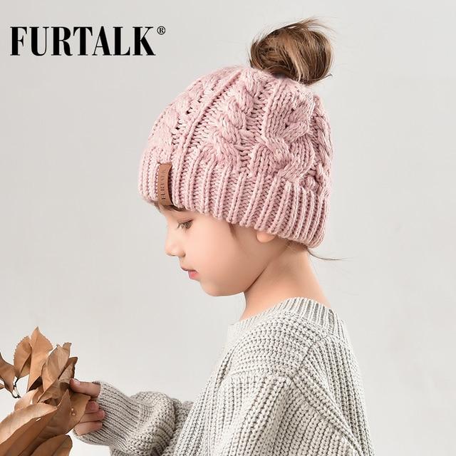 FURTALK Kid Ponytail Beanie Hat Girl Knit Autumn Winter Hats for Child CH003 41ccb340d39