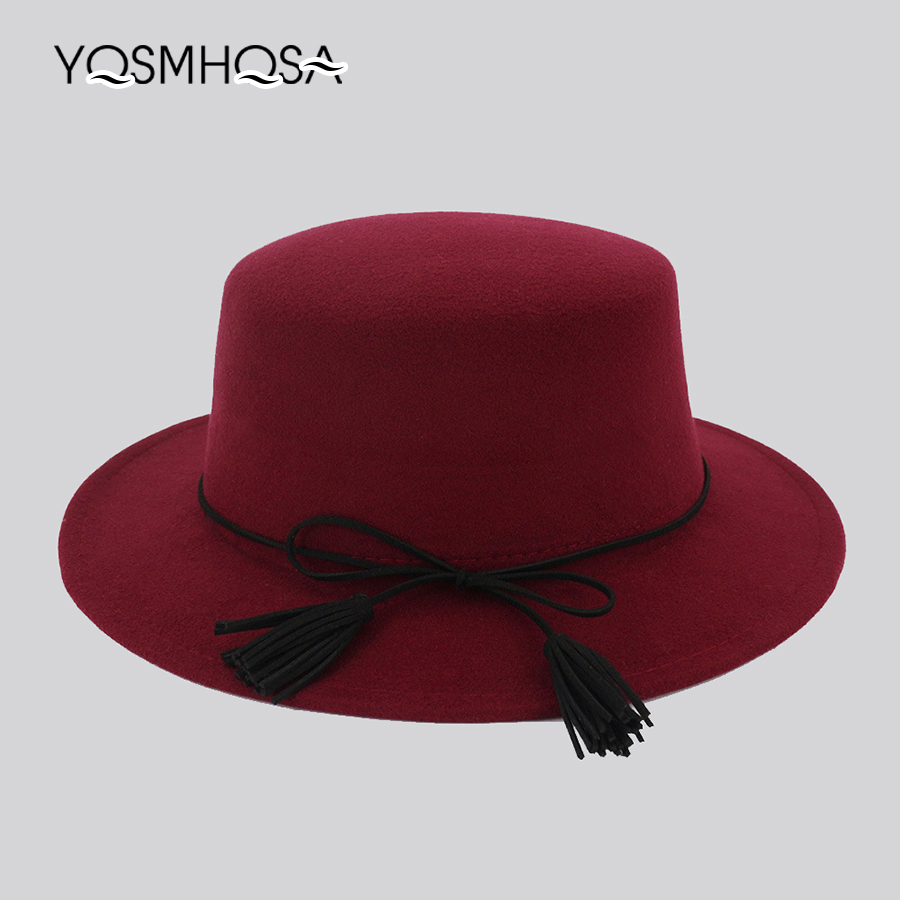f082a458d950f Women s Fashion Jazz Hat Fedora Tassel Tie Bowler Hat Wool Red Church Hats  Men Casual Black Fedora Hat for Woman Wholesale WH703-in Fedoras from  Women s ...