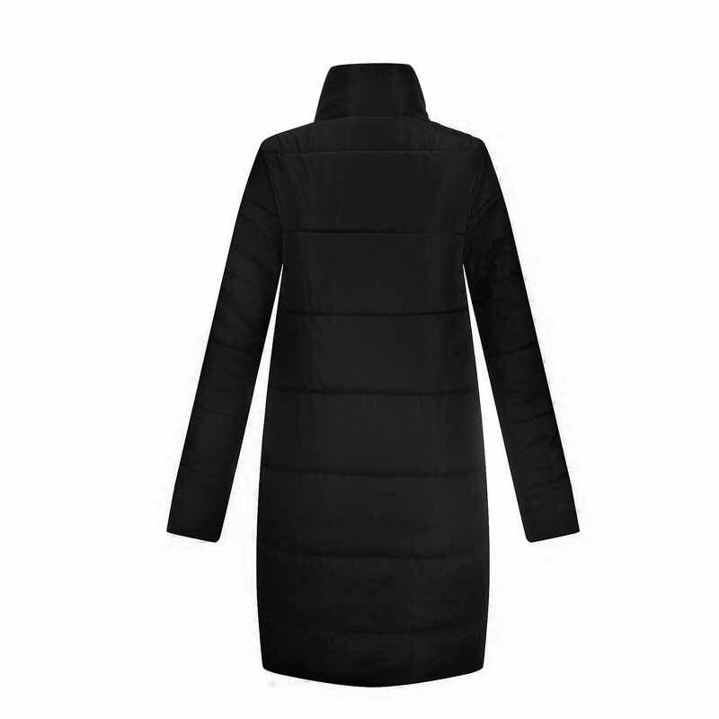 2019 gewatteerde vrouwen jassen katoen warm winter vrouwen jassen zwart lange mouwen stand kraag vrouwelijke overjassen