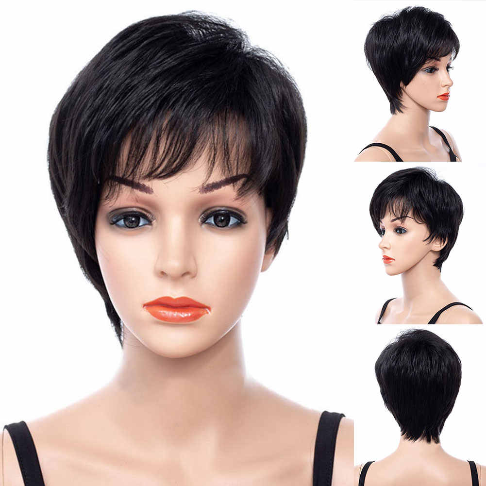 Black Fashion Daily Women Wig Short Hair Natural Wavy Cosplay Styling Fluffy Curly Synthetic Fiber Salon Easy Clean