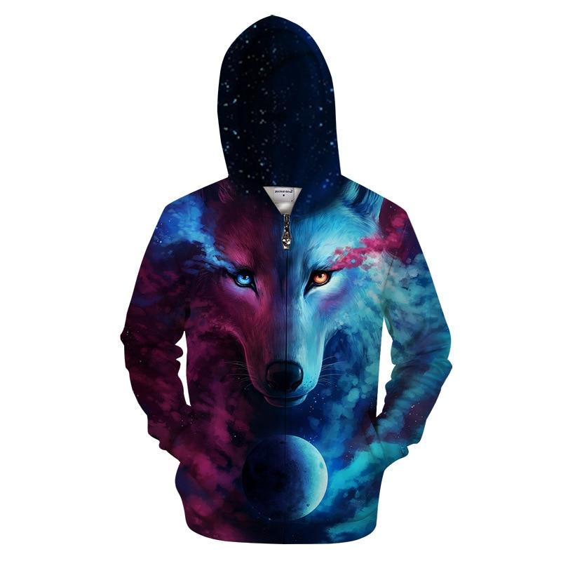 Wolf Men Zipper Hoodie Autumn Couple Style 3D Printed Sweatshirts Hoodie XXXTENTCAION 3D Wolf Print Men Cardigan Brand Hoodie