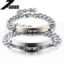 Romantique Noir/Or Plaqué Couple Bracelets Complet En Acier Inoxydable Cubique Zircone Hommes Femmes Bijoux De Mariage, JM709