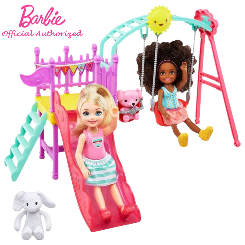 Barbie Brand New Arrival Doll Chelsea Puppe Mehrfarbig play on the slide and Swing 2pcs Barbie