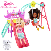 Barbie Brand New Arrival Doll Chelsea Puppe Mehrfarbig play on the slide and Swing 2pcs Barbie Doll Toy For Kid Birthday FTF93
