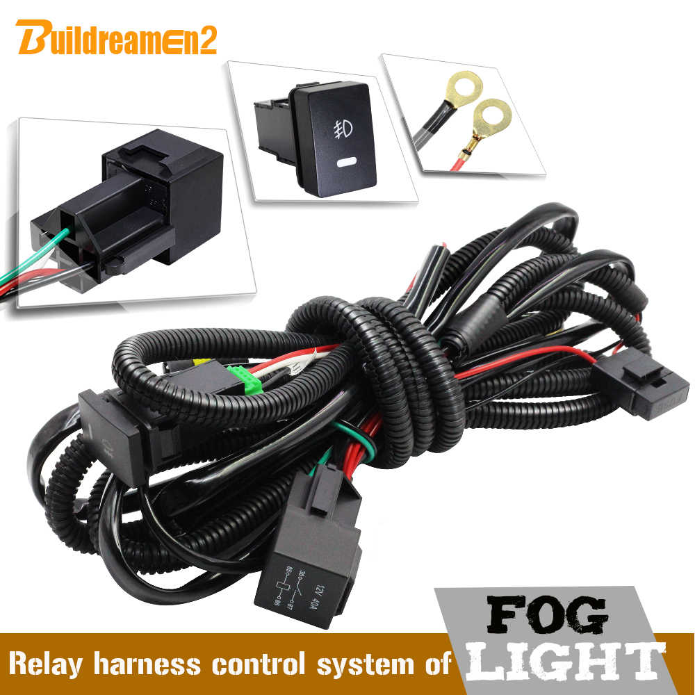 hight resolution of buildreamen2 car styling h8 h11 fog light harness wiring kit cable with on off switch