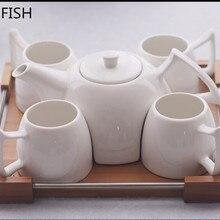 Керамика с деревянными поддонами, кофейный набор, послеобеденный чай, простой набор керамических кофейных чашек, чайный набор, набор для краткого чая, чайный горшок, porcelana