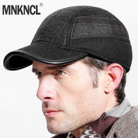 MNKNCL Thickened Autumn Winter Baseball Cap With Ears Men'S Wool Hat Snapback Hats Ear Flaps For Men Trucker Caps