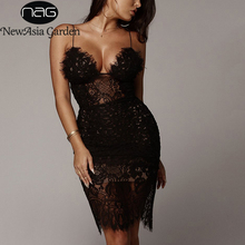 NewAsia Sexy Dress Women 2019 Chic V-neck Luxury Hollow Out Lace Party Summer Bodycon Elegant Club Midi Black Robe