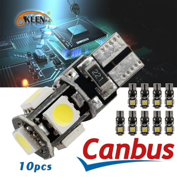 OKEEN 10pcs White 5050 5SMD Canbus Error Free LED Bulb T10 W5W 194 Car Replacement CAN Bus Lights Door Clearance Interior Lamp