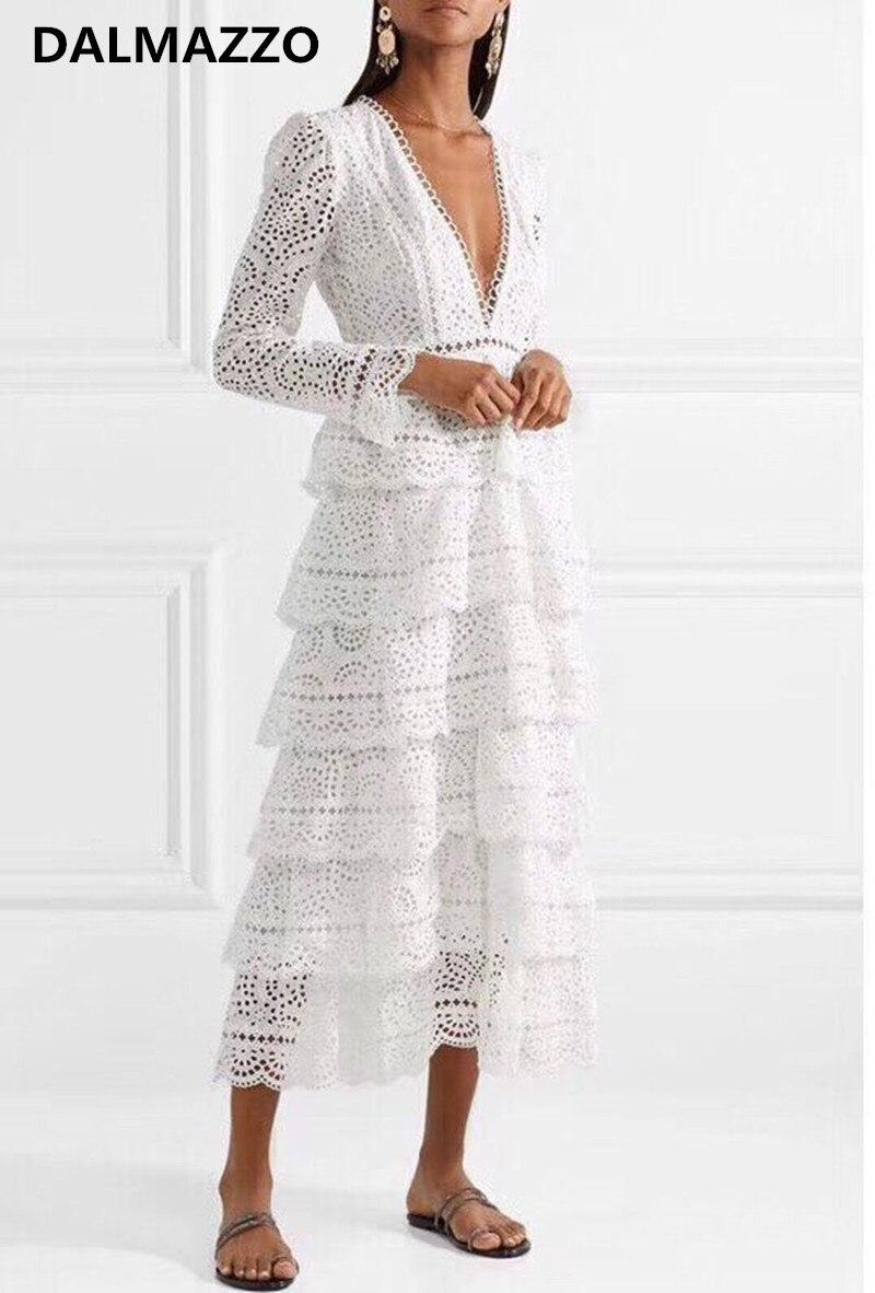 Femmes col en V profond dentelle blanche évider à manches longues gâteau longue robe 2018 date automne Designer luxe piste fête longues robes