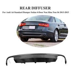 Z włókna węglowego tylny zderzak wargi dyfuzor wylotowy dla Audi A6 standardowy zderzak Sedan 4 drzwi nie Sline nie S6 2013 -2015