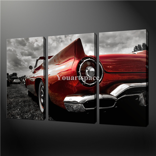 Vintage Auto Wall Decor : Piece wall art painting pictures print on canvas black
