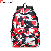 Bansusu High Quality  Printed Camouflage Backpack For Teenager Girls Cartoon School Bags Women and Men Canvas Travel Backpacks