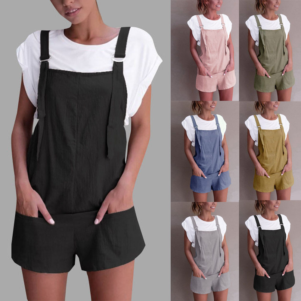 Rompers Playsuit Pants Basic-Shorts Dungarees Linen Cotton Women Strap Femme Combinaison