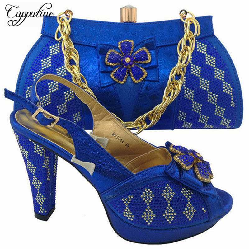 Capputine High Quality Fashion Rhinestone Shoes And Bag Set Italian Style Woman Shoes And Bag Set For Party Dress MM10441 capputine high quality crystal super high heels shoes and bag set italian style woman shoes and bag set for wedding party g33