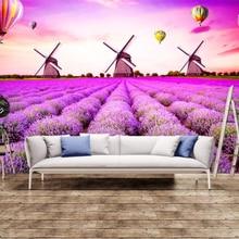 beibehang Custom wallpaper European style lavender hot air balloon windmill 3D