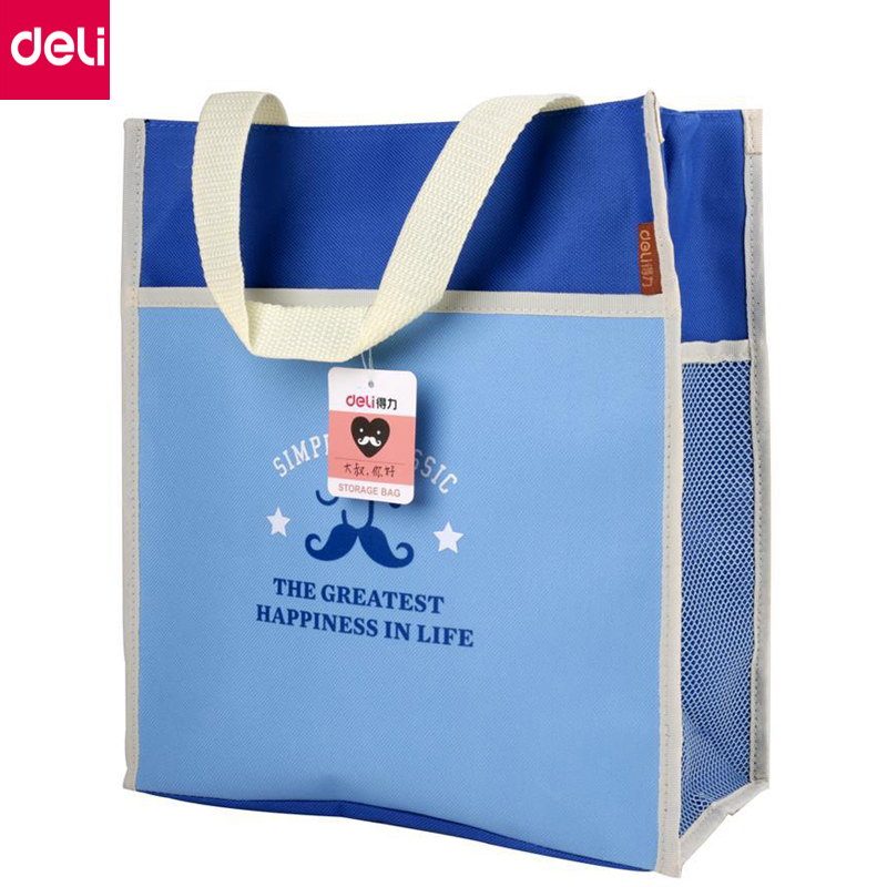Deli 1pcs Cute A4 File Folder Bag Handbag Document Bag Storage Bag Filling Products School Office Supplies(Blue,Pink) deli a4 folder 8 grids portable multi layer paper bag information package expanding wallet document bag school office supplies
