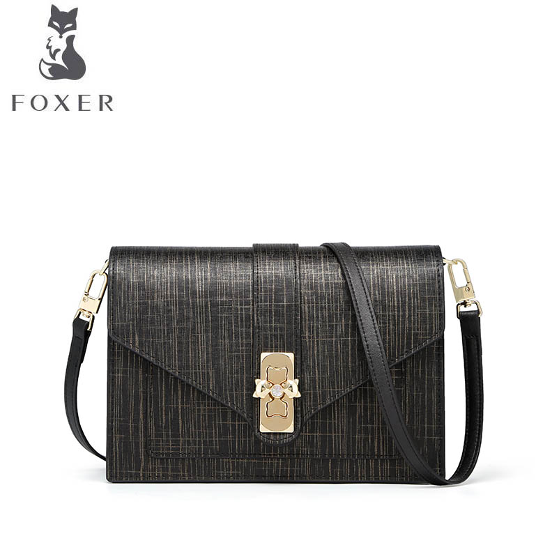 купить FOXER luxury fashion 2018 new autumn girl bag Messenger bag tide fashion lock fairy bag simple small square bag по цене 4487.84 рублей