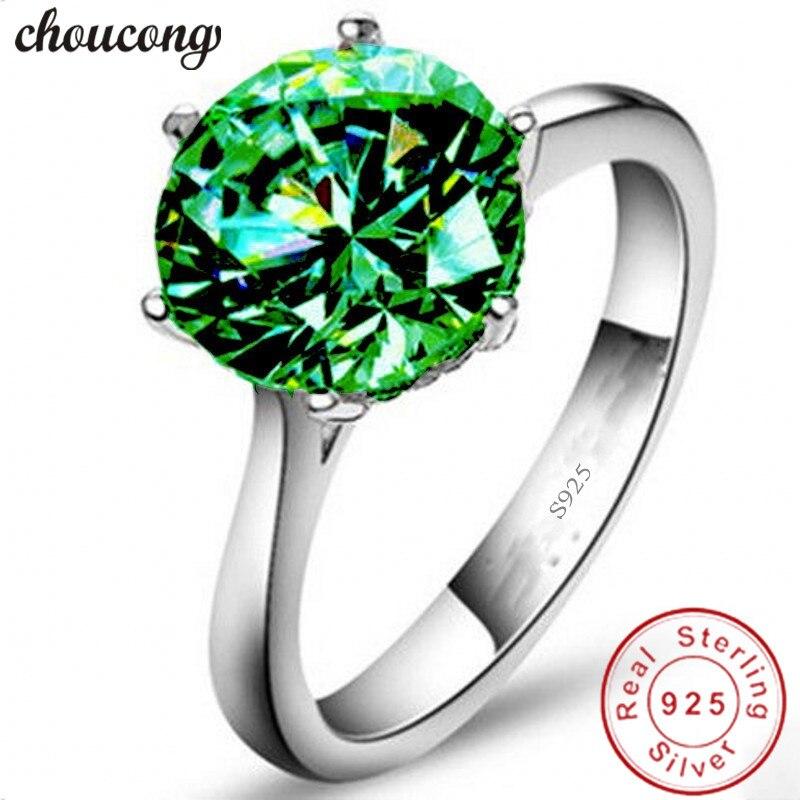 Choucong пасьянс кольцо 3ct AAAAA зеленый циркон 100% реального стерлингового серебра 925 Обручение обручальное Кольца для Для женщин мужчин Bijoux