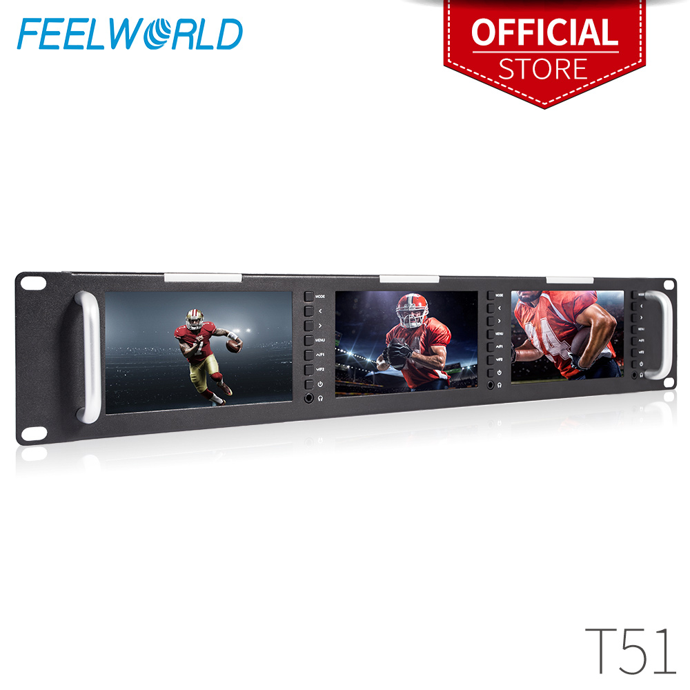Feelworld Triple 5 2RU 800x480 Broadcast Rack Mount Monitor with 3G-SDI HDMI AV Input Output Triple Screens LCD Monitor T51