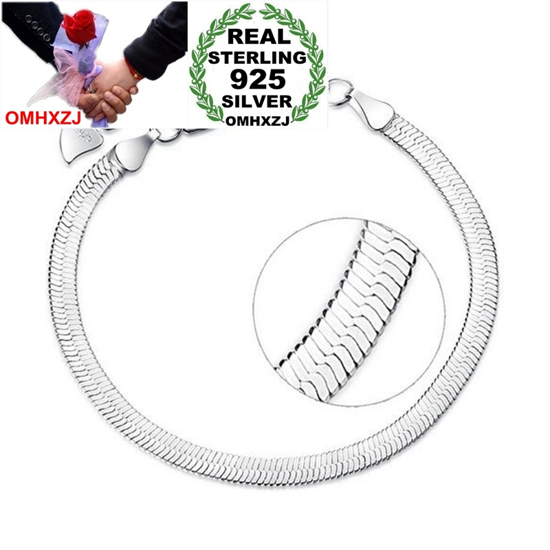 OMHXZJ Wholesale Simple Fashion Casual For Woman Man Couple Party Gift Flat Snake Bone 925 Sterling Silver Bracelet Bangle SZ114
