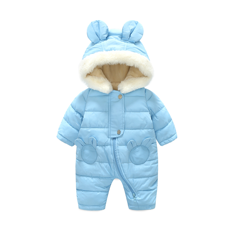 Vinnttido Baby Snowsuit Romper Winter Thick Boys Girls Jumpsuit Newborn Hooded Toddler Clothes