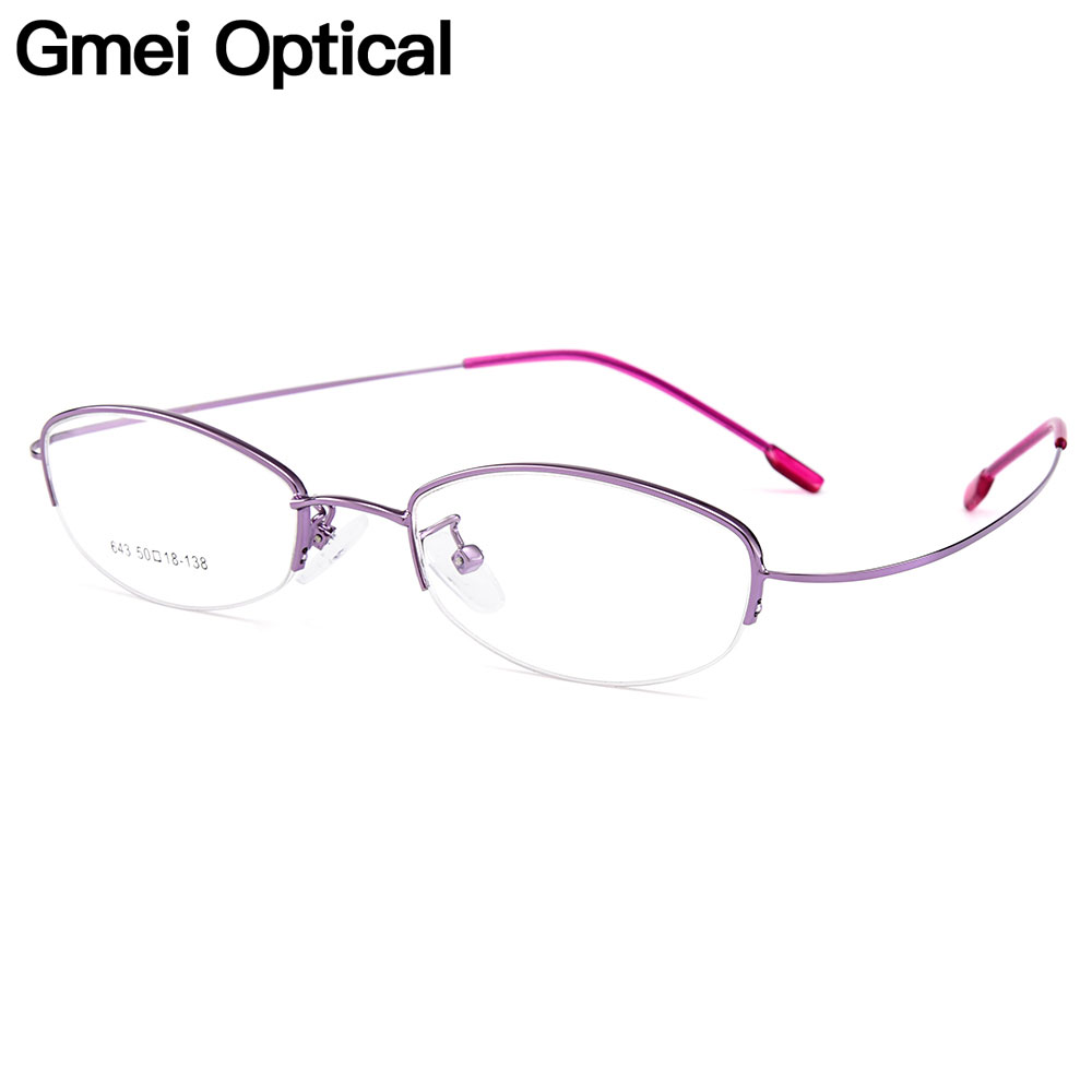 Gmei Optical Women Ultra-Light Semi-Rimless Memory Titanium Alloy Glasses Frames For Myopia Presbyopia Reading Spectacles Y643
