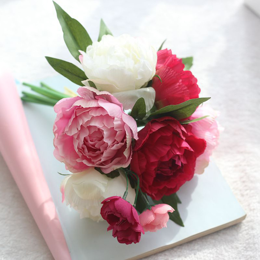 Hot Pink Artificial Fake Flowers Peony Bouquet Floral Wedding