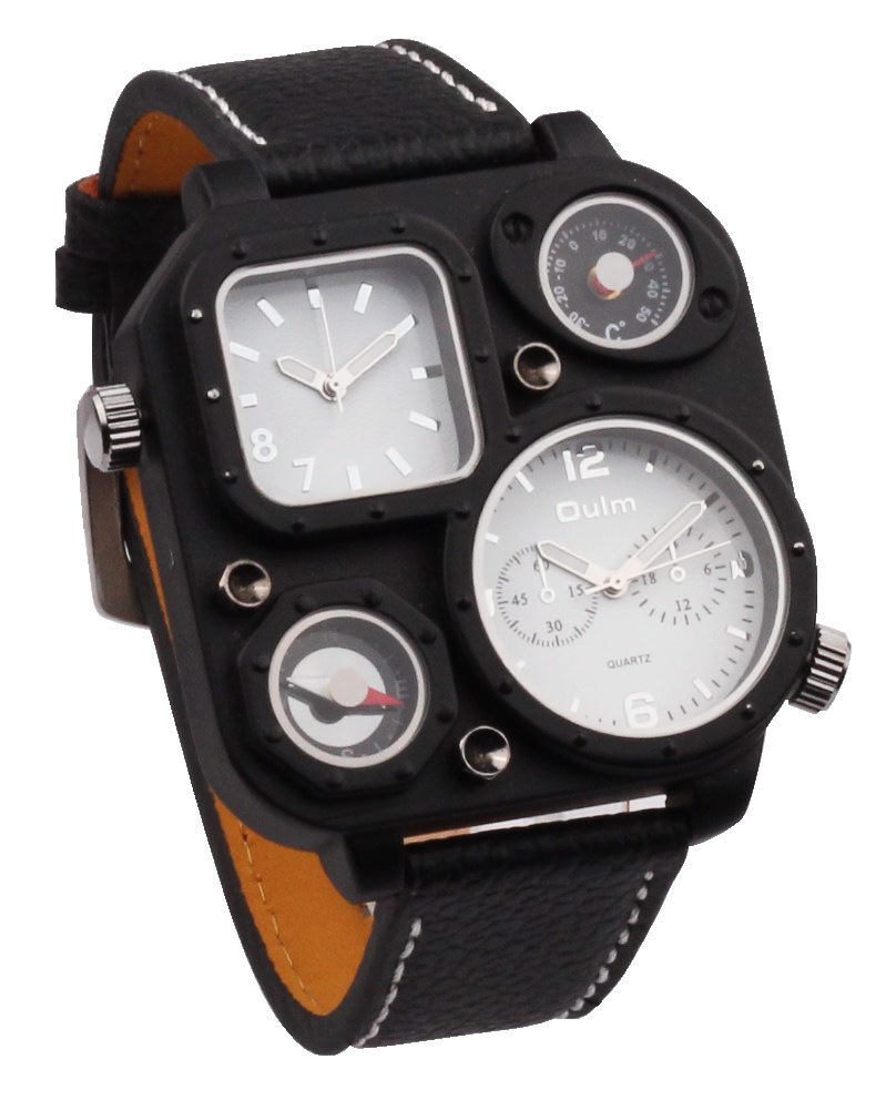 OULM 1169 Mens 5.2cm Square Big Face Watches Dual Tim