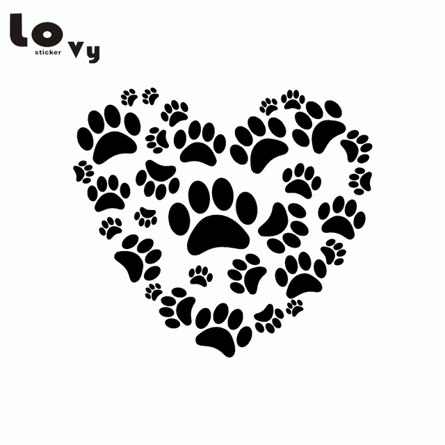 Cute Dog Paw Print On Your Heart Car Sticker Creative Cartoon Animal
