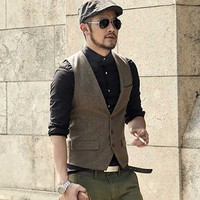Spring Summer Men Eangland Style Casual Vest 3 Button Slimming Waistcoat Wool Suit Vest