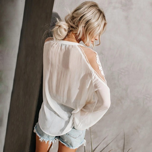 Sexy Lace Mesh Shirt Embroidery Patchwork Women Casual Long Sleeve Tops Chiffon Blouse Ladies Loose Tops Shirts Female Blusas 4