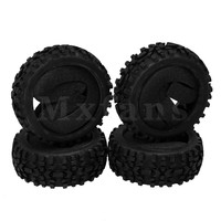Mxfans 114x40x80MM Black Beach Desert Rubber Wheel Tyres Tires for RC 1:8 Off Road Car Pack of 4