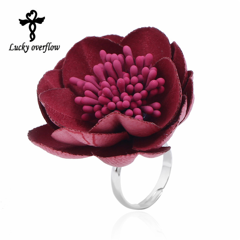 2018 Fashion Exclusive Design Handmade Fabric Flower Ring Red Big Flower Resizable Rings For Women Jewellry Best Christmas Gift